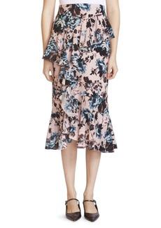 Erdem Roselia Floral Silk Midi Skirt