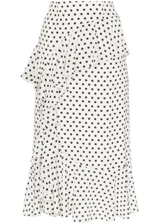 Erdem Roselia polka-dot print ruffled silk midi-skirt