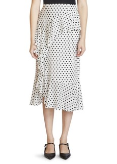 Erdem Roselia Silk Polka Dot Midi Skirt