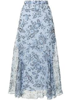 Erdem Shea floral-print silk skirt