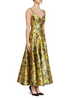 Erdem Verna Floral Garden Jacquard Tea Dress
