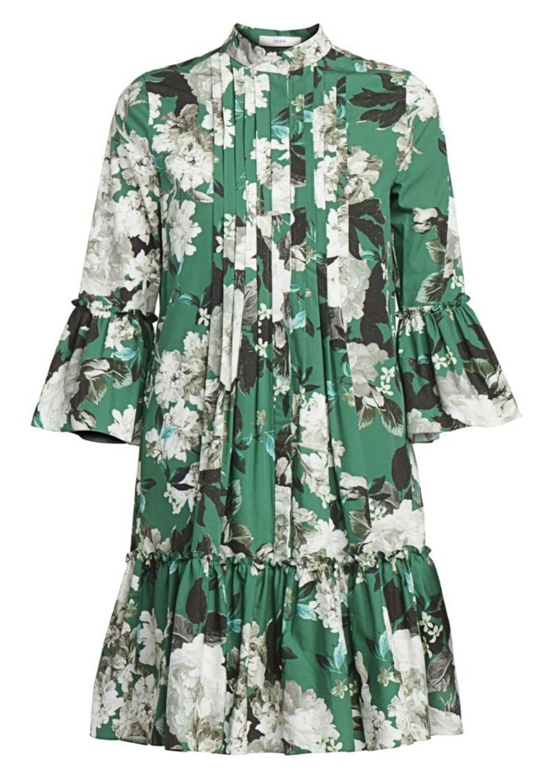 Erdem Winford Rose Wallpaper Bell Sleeve Shirtdress