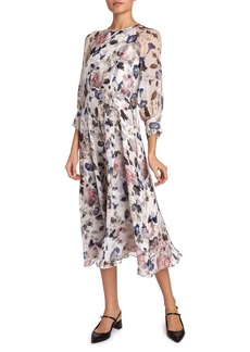 Erdem Yusra 3/4-Sleeve Midi Dress