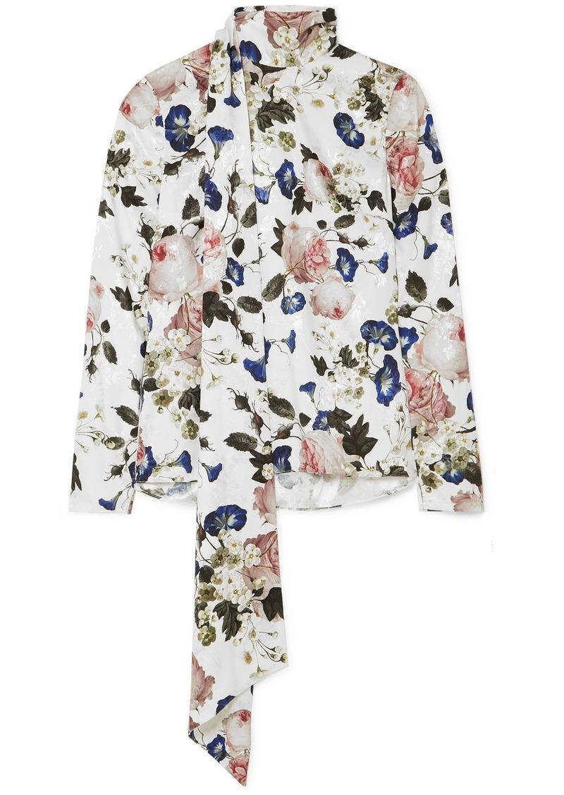Erdem Yvonna Floral-print Satin-jacquard Blouse
