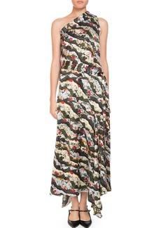 Erdem Zainab One-Shoulder Asymmetric Keiko Marble-Print Long Dress with Handkerchief Hem
