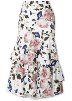 Erdem Zennia Ruffled Floral-print Satin-jacquard Midi Skirt