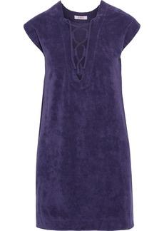 Eres Woman Alison Lace-up Cotton-terry Mini Dress Purple