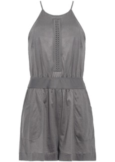 Eres Woman Open-back Braid-trimmed Cotton-jersey Playsuit Charcoal