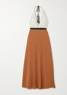Eres Palma Color-block Silk-crepe Halterneck Maxi Dress