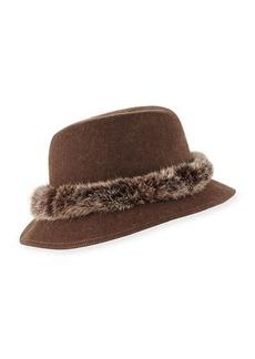 Eric Javits Bunny Wool Fedora Hat w/ Fur Band