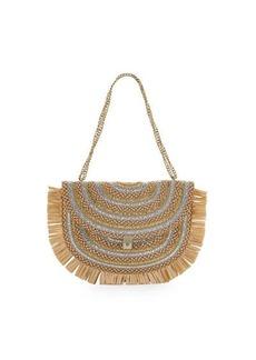 Eric Javits Tiki Fringe Straw Chain Pouch Bag