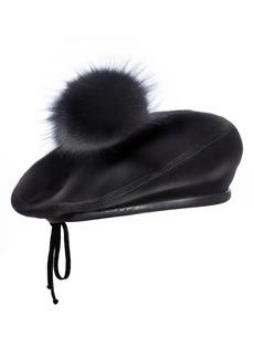 Eric Javits Tilda Velveteen Beret with Genuine Fox Fur Trim