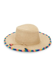 Eric Javits Frida Pompom Trim Woven Hat