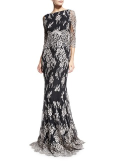 Erin Fetherston 3/4-Sleeve Embroidered Lace Gown