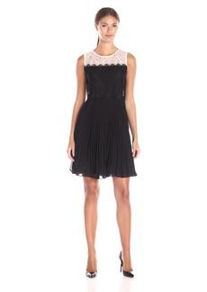 Erin Erin Fetherston Women's Astrid Lace Chiffon Pleated Dress Black/Ivory