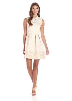 Erin Erin Fetherston Women's Carrie Blossom Jacquard Collar Dress Vaniklla/Metallic