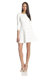 ERIN erin fetherston Women's Emma Ponte Banded 3/4 Sleeve Flared Dress
