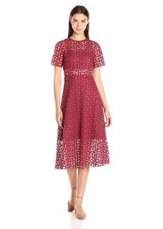 Erin Erin Fetherston Women's Nora Short Sleeve Lace Illusion Dress