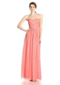 ERIN erin fetherston Women's Rose Metallic Chiffon Strapless Evening Gown