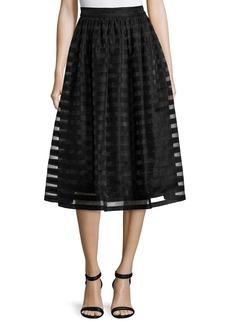 Erin Fetherston Quinne Striped Organza Midi Skirt