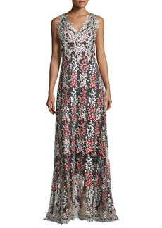 Erin Fetherston Sleeveless Wisteria-Embroidered Gown