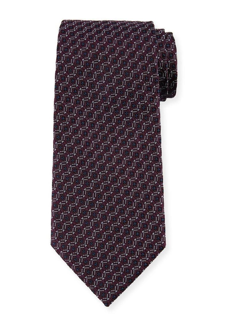 Ermenegildo Zegna Box-in-Circle Silk Tie  Purple