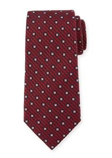 Ermenegildo Zegna Box-On-Jacquard Silk Tie  Red