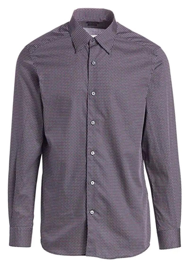 Ermenegildo Zegna Chevron Pen Print Woven Shirt