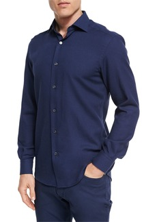 Ermenegildo Zegna Cotton-Cashmere Button-Front Shirt