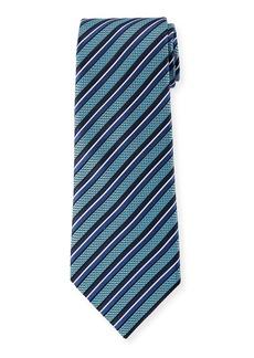 Ermenegildo Zegna Diagonal Geometric Silk Tie  Blue