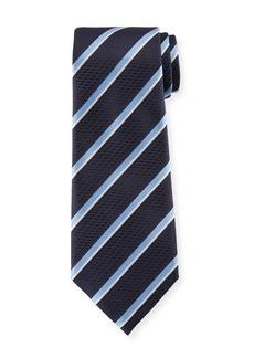 Ermenegildo Zegna Diagonal Striped Silk Tie  Navy/Light Blue