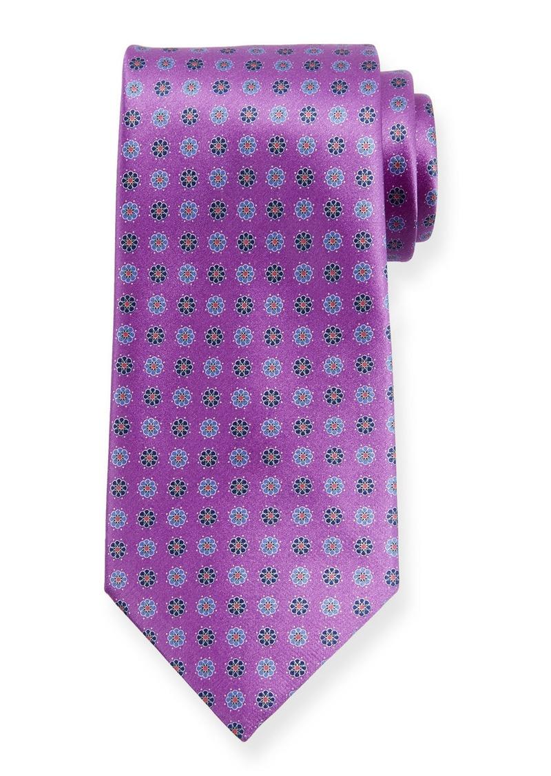 Ermenegildo Zegna Alternating Flowers Silk Tie  Purple