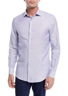 Ermenegildo Zegna Band-Collar Cotton-Linen Shirt