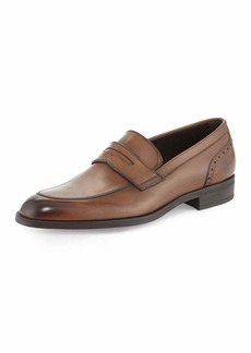 Ermenegildo Zegna Burnished Calf Leather Penny Loafer