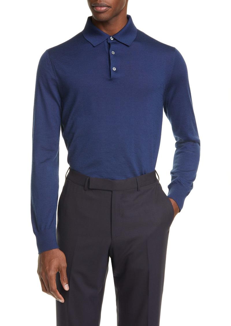 Ermenegildo Zegna Cashmere & Silk Long Sleeve Polo Shirt