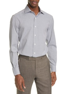 Ermenegildo Zegna Classic Fit Check Seersucker Button-Up Shirt