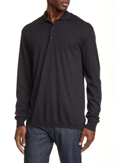 Ermenegildo Zegna Classic Fit Cotton & Cashmere Long Sleeve Polo