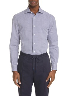 Ermenegildo Zegna Classic Fit Microcheck Button-Up Shirt