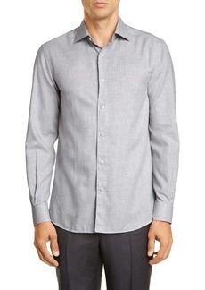 Ermenegildo Zegna Slim Fit Mélange Button-Up Shirt