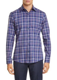 Ermenegildo Zegna Classic Fit Overcheck Button-Up Shirt