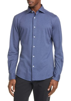 Ermenegildo Zegna Classic Fit Piqué Cotton Button-Up Shirt