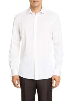 Ermenegildo Zegna Classic Fit Piqué Knit Button-Up Shirt