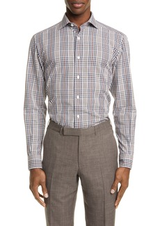 Ermenegildo Zegna Classic Fit Plaid Cotton & Linen Button-Up Shirt