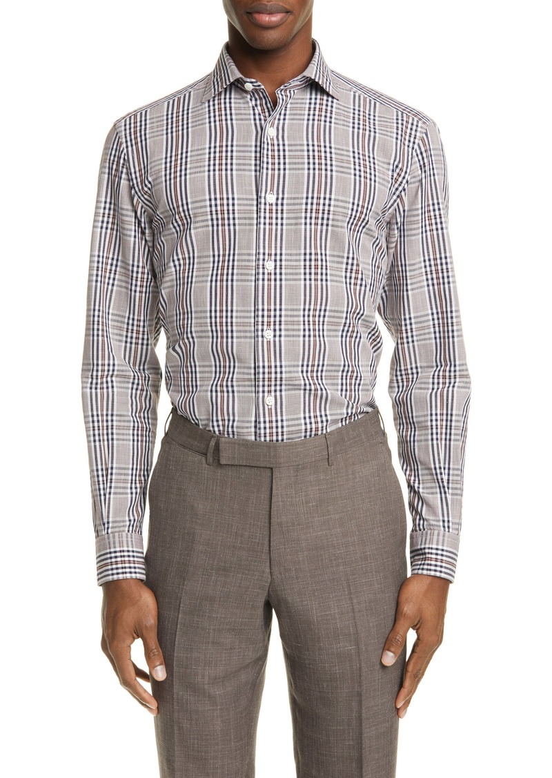 Ermenegildo Zegna Classic Fit Plaid Cotton & Linen Button-Up Shirt