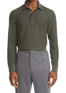 Ermenegildo Zegna Cotton & Wool Long Sleeve Polo Shirt