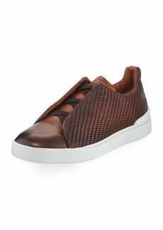 Ermenegildo Zegna Men's Couture Triple-Stitch Pelle Tessuta Leather Low-Top Sneakers