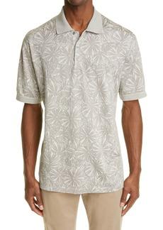Ermenegildo Zegna Floral Jacquard Cotton & Silk Short Sleeve Polo