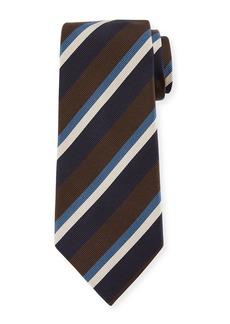 Ermenegildo Zegna Four-Color Stripe Silk Tie  Black