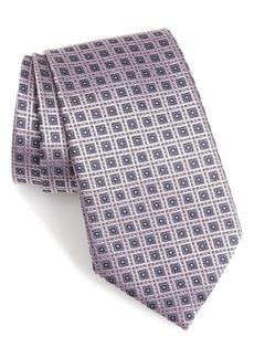 Ermenegildo Zegna Geometric Grid Silk Tie