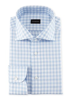 Ermenegildo Zegna Gingham-Print Cotton Dress Shirt